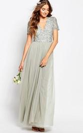 A-Line V-Neck Floor-Length Beaded Short-Sleeve Chiffon Bridesmaid Dress With Pleats