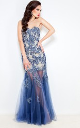 Mermaid Floor-Length Sweep Sweetheart Sleeveless Tulle Lace Pleats Backless Dress