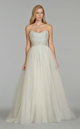 Angelic Crisscross Pleated Bodice Tulle Ball Gown With Crystal Embroidery