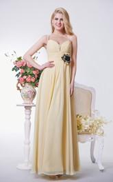 A-line Ruched Long Chiffon Dress With Spaghetti Straps