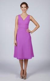 V Back V Back A-line Chiffon Short Dress Violet