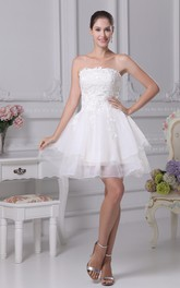Lovely Strapless Tulle A-Line Dress With Appliques