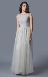 Cap Sleeve Jewel Neck Ruched Long Tulle Dress With Beading