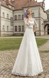 Scalloped Neckline Half Sleeve Floor-length A-line Lace-up Dress With Crystal Detailing