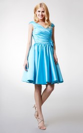 Feminine Off the Shoulder Ruched Short Satin Dress With Flowers