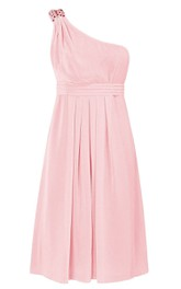 One-shoulder Rhinestoned A-line Short Dress With Ruched Band