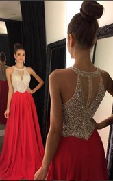 Elegant Red Sleeveless Long Prom Dresses 2018 Chiffon With Crystals