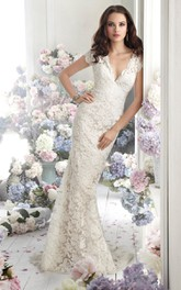 Captivating V-Neck Lace Over Charmeuse Dress With Short Sleeve and Sheer Back