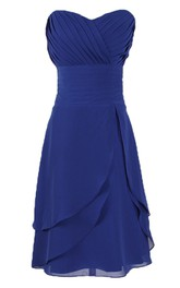 Sweetheart Asymmetrical Bodice Knee-length Layered Chiffon Dress