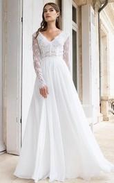 Modest BV-neck A Line Floor-length Long Sleeve Wedding Dress