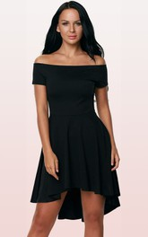 Jersey Short High-Low A Line Short Sleeve Simple Solid Dress with Pleats
