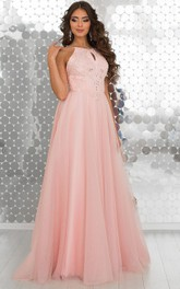 A-Line Floor-Length Halter Sleeveless Tulle Beading Appliques Straps Dress