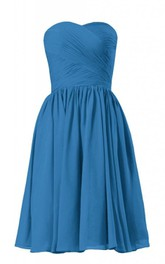 Strapless Asymmetrical Bodice Knee-length Pleated Chiffon Dress