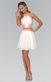 Illusion A-Line Short Jewel-Neck Sleeveless A-Line Lace-Up Dress With Appliques