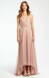 High-Low Criss-Cross V-Neck Sleeveless Tulle Bridesmaid Dress