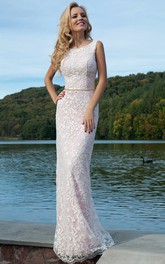Pencil Maxi Sleeveless Appliqued Scoop Lace Prom Dress