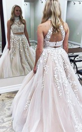 A-Line Lace Tulle High Neck Sleeveless Keyhole Dress