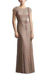 Cap Sleeve Sheath Lace Floor-length Bridesmaid Dress with Sash
