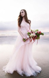 Subtle Pink Strapless Sweetheart A-line Tulle Beach Wedding Dress