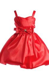 Sleeveless A-line Knee-length Bowed Dress With Straps