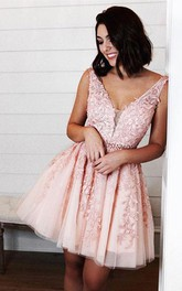 Lace Tulle A Line Low-V Back Sleeveless with Beading and Petals Homecoming Dress