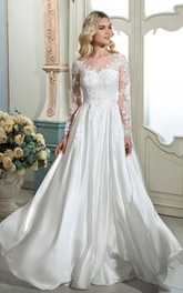 A-line Ethereal Elegant Lace Wedding Dress With Illusion Long Sleeves And Buttons Back