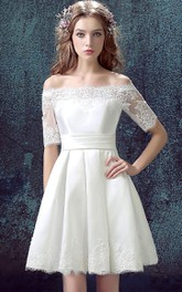 Half-sleeved A-line Short Satin Dress with Lace