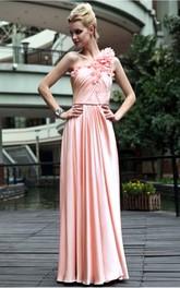 Pink A-line Floor-length One Shoulder Dress
