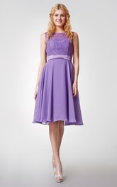 Cap-sleeved Bateau Neck Knee Length Chiffon Dress With Lace Bodice