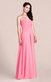 Simple Style Sweetheart Strapless Long Chiffon Bridesmaid Dress