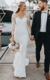 Modest Sheath V-neck Lace Satin Sweep Train Long Sleeve Deep-V Back Wedding Dress