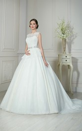 A-Line Floor-Length Bateau-Neck Sleeveless Illusion Tulle Dress With Sequins And Beading