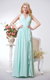 Halter A-line Long Chiffon Dress With Pleats and Ruching