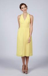 Halter V Neck A-line Chiffon Tea Length Dress Lemon Yellow