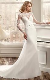Long-Sleeve Sheath Wedding Dress With Brush Train And Back Draping