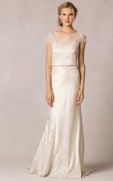 Sheath Scoop-Neck Short-Sleeve Long Appliqued Lace&Satin Wedding Dress