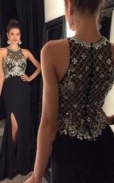 sheath Sleeveless Scoop Crystal Chiffon Sweep Train Dresses