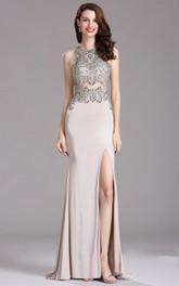 Sheath Sweep High-Neck Sleeveless Jersey Split Front Illusion Dress