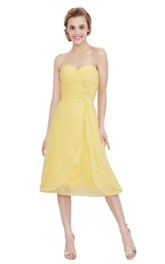 Sweetheart Tea-length Chiffon Dress With Pleats