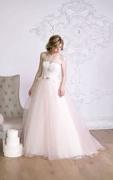 A-Line Long Strapless Sleeveless Lace-Up Organza Dress With Bow And Appliques