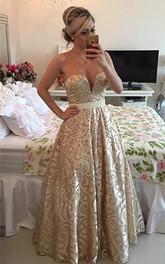 Modern V-neck Sleeveless Pearls Prom Dress 2018 Open Back Floor-length