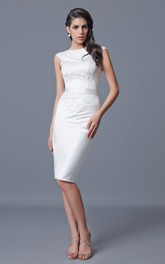 Bateau Neckline Knee Length Satin and Lace Dress