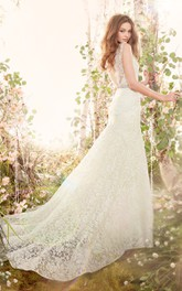 Delicate V-Neck Floor Length Lace Gown With Crystal Ribbon Belt