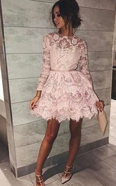 A-line Long Sleeve Lace High Neck Zipper Short Mini Homecoming Dress
