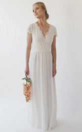 Lace Chiffon Cap Sleeve V-neck With Criss Cross Top A-line Wedding Dress