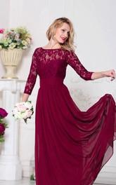 Bateau Lace Illusion 3-4 Sleeve A-line Pleated Chiffon Floor Length Dress