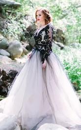 A-Line Lace Tulle V-neck Long Sleeve Floor-length Wedding Dress with Keyhole Back