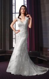 Floor Length Lace Wedding Dress With Keyhole Back