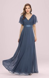 Elegant Chiffon V-neck A Line Short Sleeve Prom Mother Dress With Ruffles