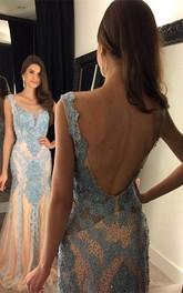 Glamorous Beadings Mermaid 2018 Prom Dress Open Back Sweep Train
